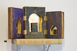 Paige Turner, The Altar of Altered Books, 2014, Books, gold leaf, wax metallic thread