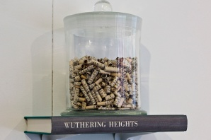 Paige Turner, Moors, 2014, quilled book pages, specimen jar