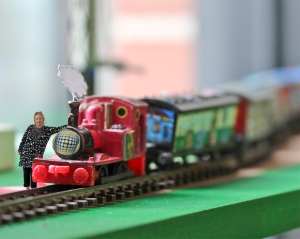 Vicki Clissold and Arty the engine